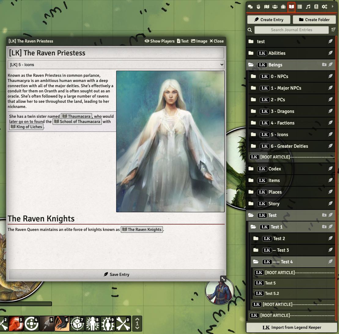Screenshot of Legend Keeper sidebar